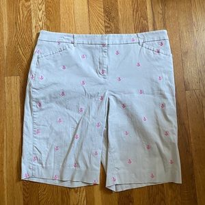 Charter club shorts tan w/ pink anchors size 14